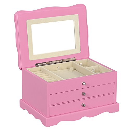 Songmics Girls Jewelry Box Pink Wooden Case Organizer With