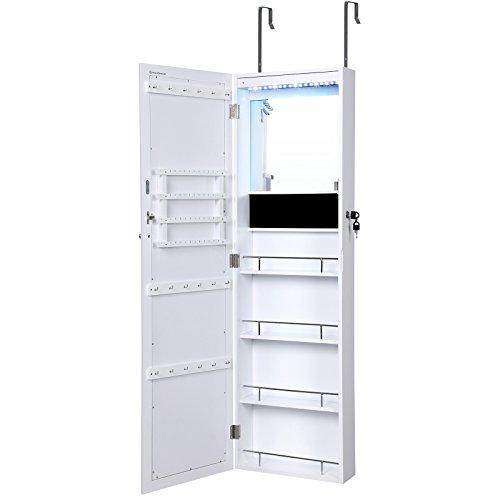 Lockable Jewelry Cabinet / Wall U0026 Door Mounted Jewelry Armoire With Rear  Glass Mirror