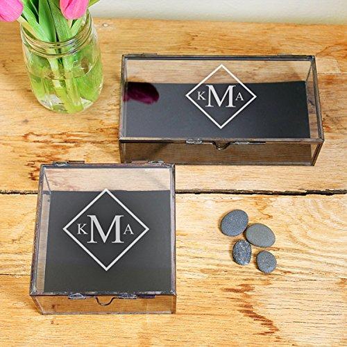Beautiful Antique Style Black Bottom Glass Jewelry Shadow Box Zen