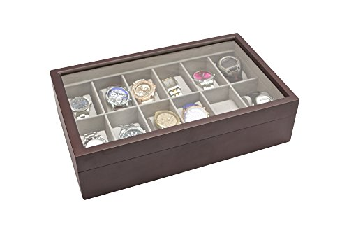 Watches, Parts & Accessories Nice Solid Espresso Wood Watch Box Organizer W Glass Display Top 12 Slot By Boxes, Cases & Watch Winders