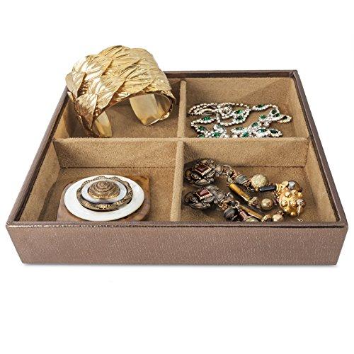 4 Elegant Dark Brown Stackable Jewelry Organizer Trays Storage