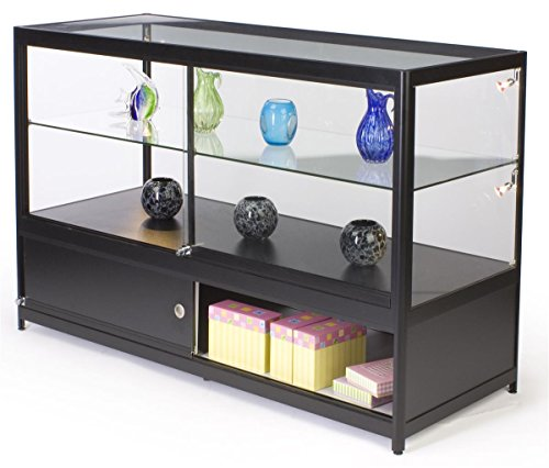 Tempered Glass Black Aluminum Frame Lighted Jewelry Display Cabinet 60 W X 38 H 24 D Zen Merchandiser