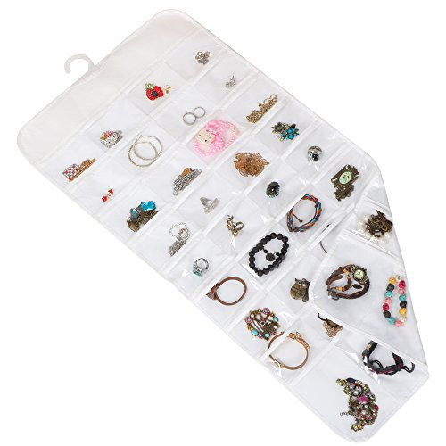 72 Pocket Wall Mounted Jewelry Hanging Organizer With Dual Sides