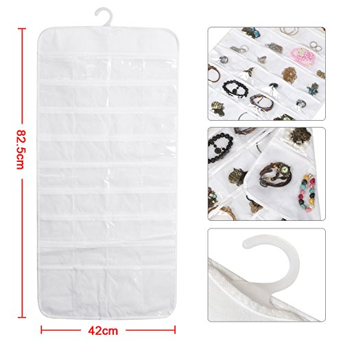 72 pocket wall mounted jewelry hanging organizer with dual