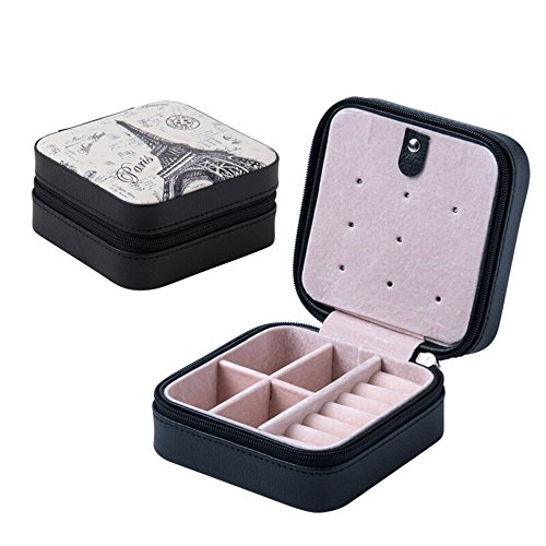 Black Professional Small Leather Travel Jewelry Box Storage Case
