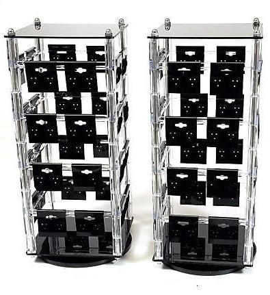 Clear Acrylic Rotating Earring Display Stands With 64 2 X Black Cards