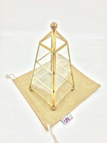 ... Glass & Brass Metal Frame Jewelry Display Case & Pyramid Jewelry Box. ; 