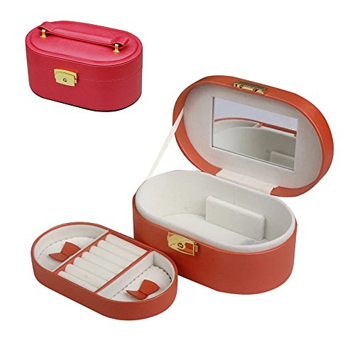 Faux Leather Small Red Travel Jewelry Box Organizer With Watch