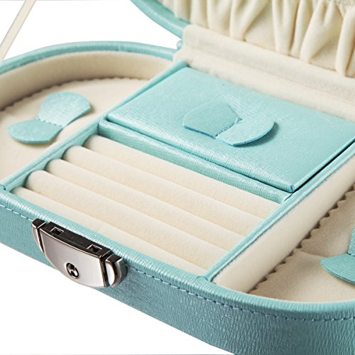 Faux Leather Teal Blue Travel Jewelry Box Organizer With Zip Closure
