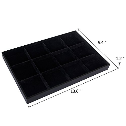 Black Velvet Stackable 12 Grid Jewelry Showcase Trays Display