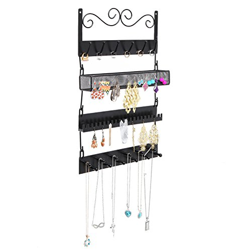 Wall Mounted Black Metal 18 Hook Hanging Jewelry Organizer Zen