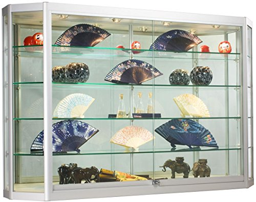 ... Silver Aluminum Illuminated Glass Jewelry Display Cabinet. ; 