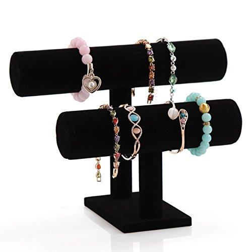 123 Tier Black Velvet Necklace Bangle Bracelet Organizer TBar