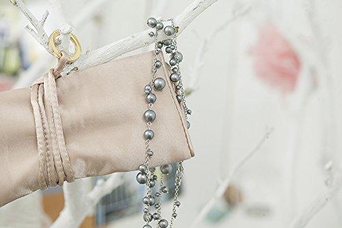 Womens Satin Large Jewelry Roll Jewelry Travel Organizer Zen