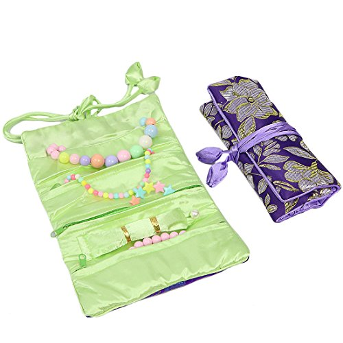 2 x Soft Silk Embroidery Jewelry Roll Travel Organizer Pouch Zen