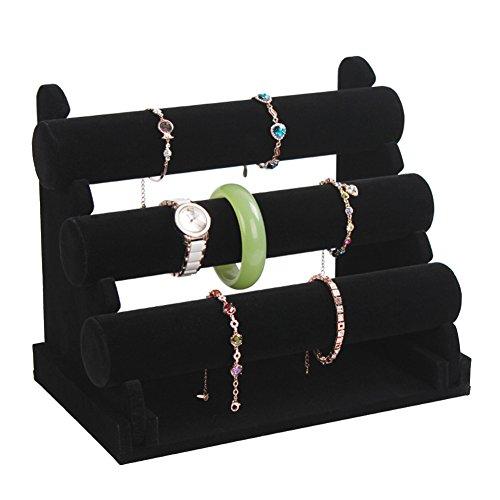 Elegant Black 3 Tier TBar Jewelry Display Stand Bracelet Bangle