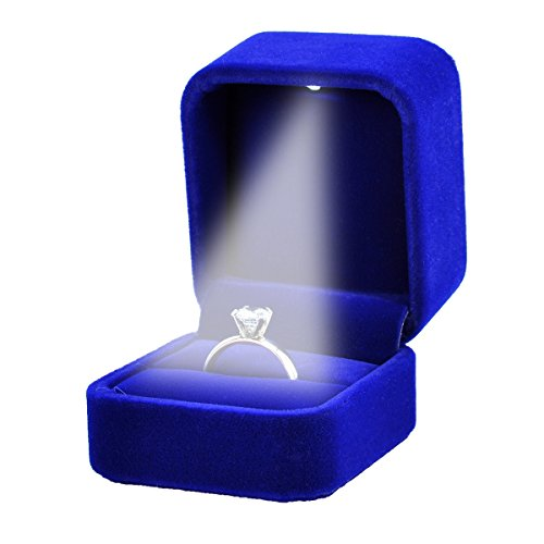 Housweety Velvet Jewelry Gift Box With Led Light For