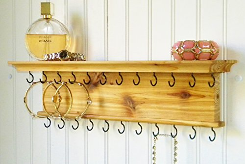 Wall Mounted Modern Rustic Wood Jewelry Organizer Necklace Holder