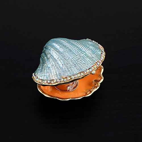 Vintage Pearl Clam Shaped Hinged Jewelry Trinket Wedding Ring Box