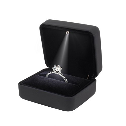 black velvet engagement ring proposal box with led light