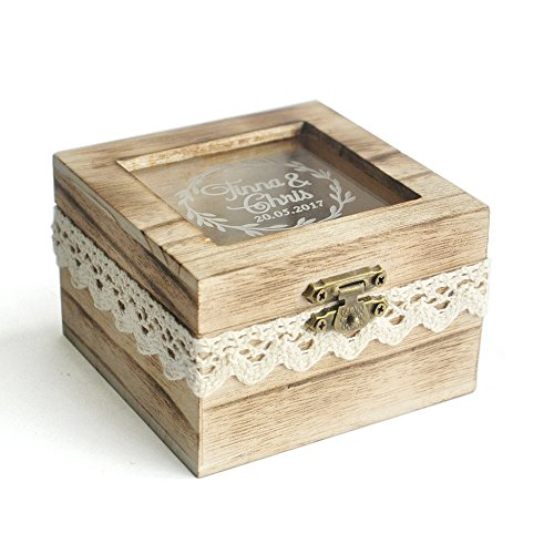 Personalized Rustic Wooden Wedding Ring Box / Wedding Ring Holder ...