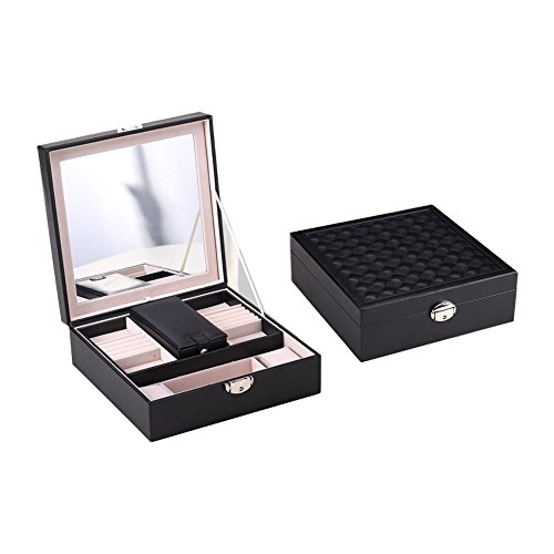 Large Faux Leather Mirrored Locking Jewelry Box Jewelry Organizer