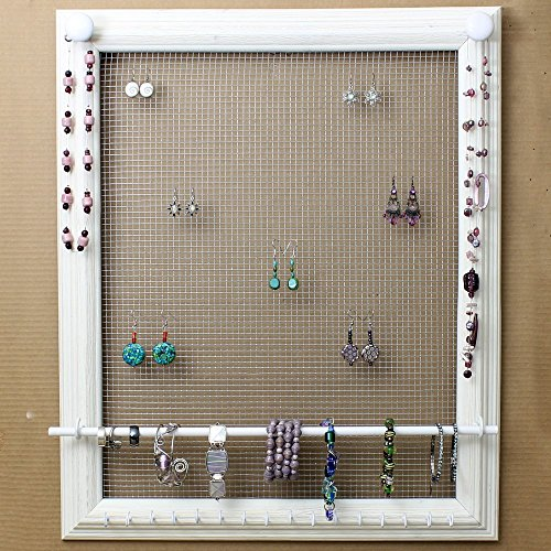 Custom Jewelry Display Frame: Large Wall Mounted White Wooden Rustic Picture Frame