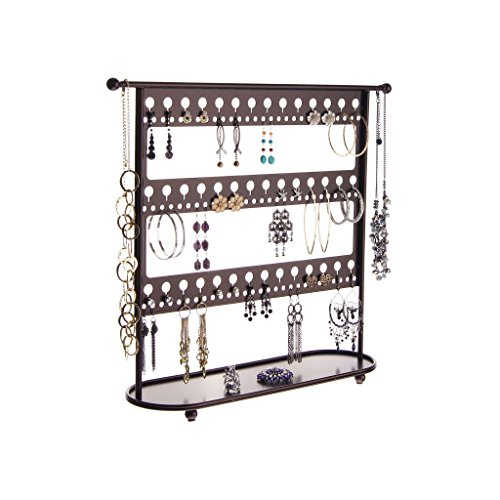 Rubbed Bronze Large Jewelry Organizer Stand Earring Studs Holder