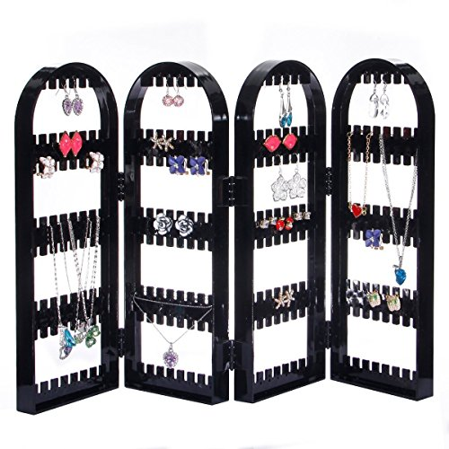 4 Panel Foldable Acrylic Jewelry Holder Rack Earrings Organizer