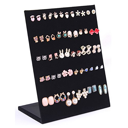Black Simple 30 Pair L Shape Earrings Stud Earring Display Rack Organizer Stand