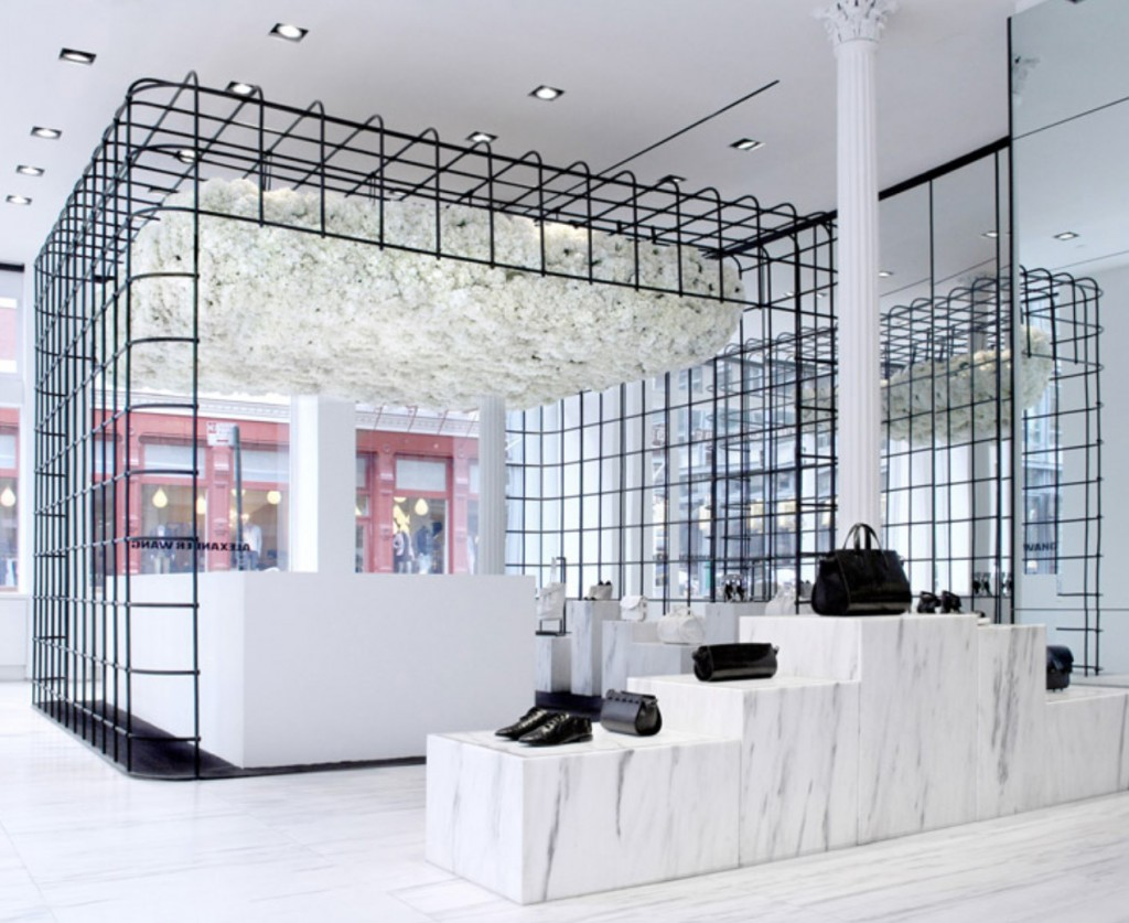 Instead of a usual window display, for the New Year's Eve, Alexander Wang store has a minimalist installation.