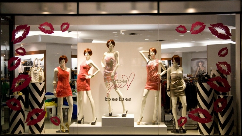 Bebe store is giving for Valentine's day many kisses, through the lips stick in the window display.