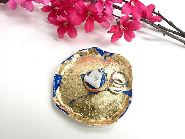 Gold Foil Textured Ring Holder Dish