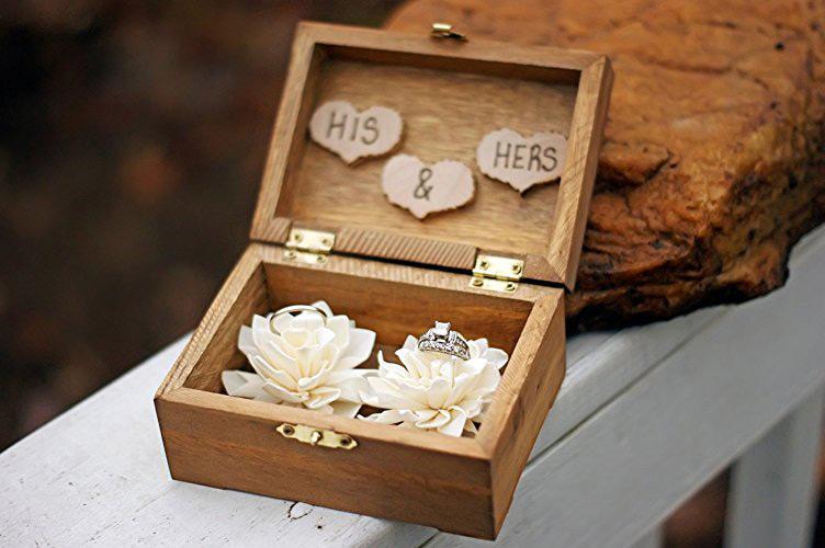 Minimalist Wooden Wedding Rings Holder Box