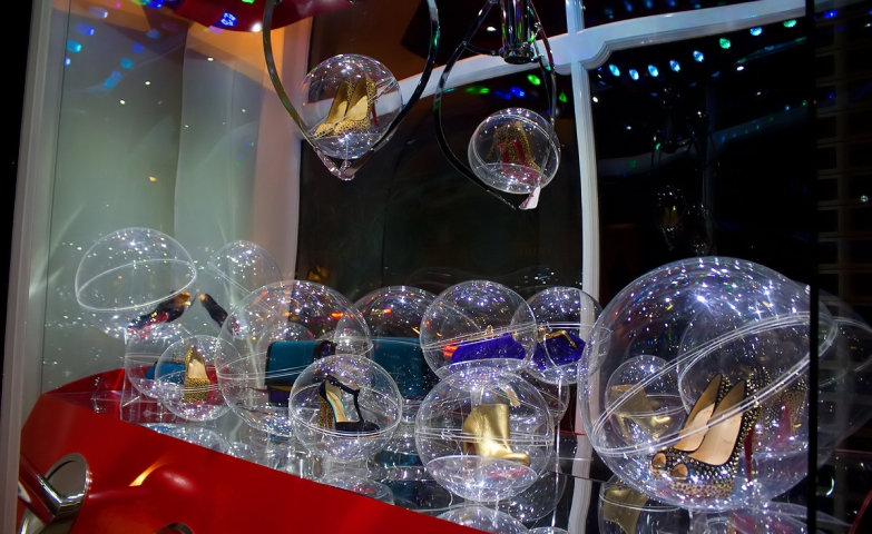 Shoes and purses in bubbles for this Christmas window display at Christian Louboutin, instead of teddy bears, snow, and Santa.
