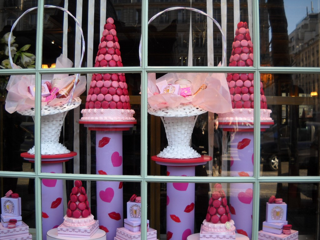 A chocolate specialty shop, with pink sweets and beautiful decoration for Valentine's day window display.