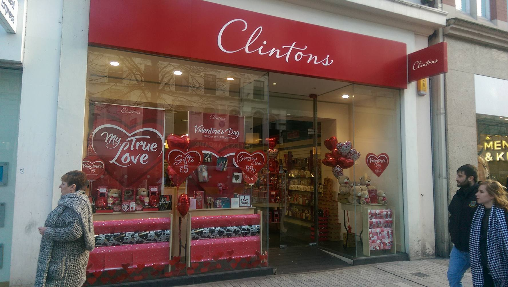 At Clintons, the decoration for Valentine's day come with hearts stick on the window and also with discounts.