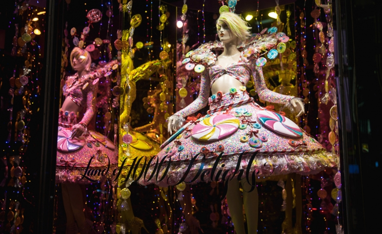 In Canada, for Christmas window display and for holidays, the mannequins are sometimes dressed in dresses made of sweets.