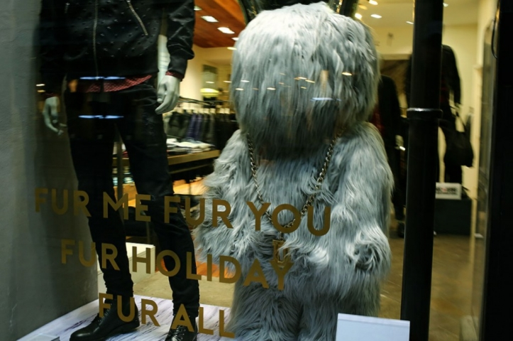 """Not sure if this can be a cute message for a New Year's Eve window display: """"Fur me, fur you, fur holiday, fur all"""""""