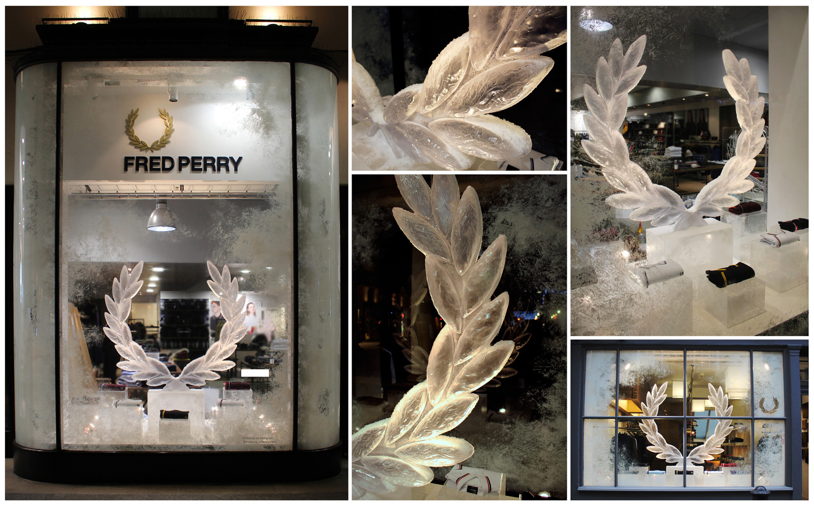 Fred Perry decorated the window display for Christmas with their iced logo, and a steamy window, looking mystic.