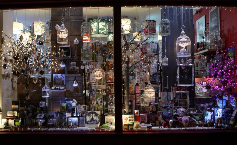 This gift shop has chosen a woodland, vintage and baroque theme for its Christmas window display and left aside the cliche of the adorned fir.