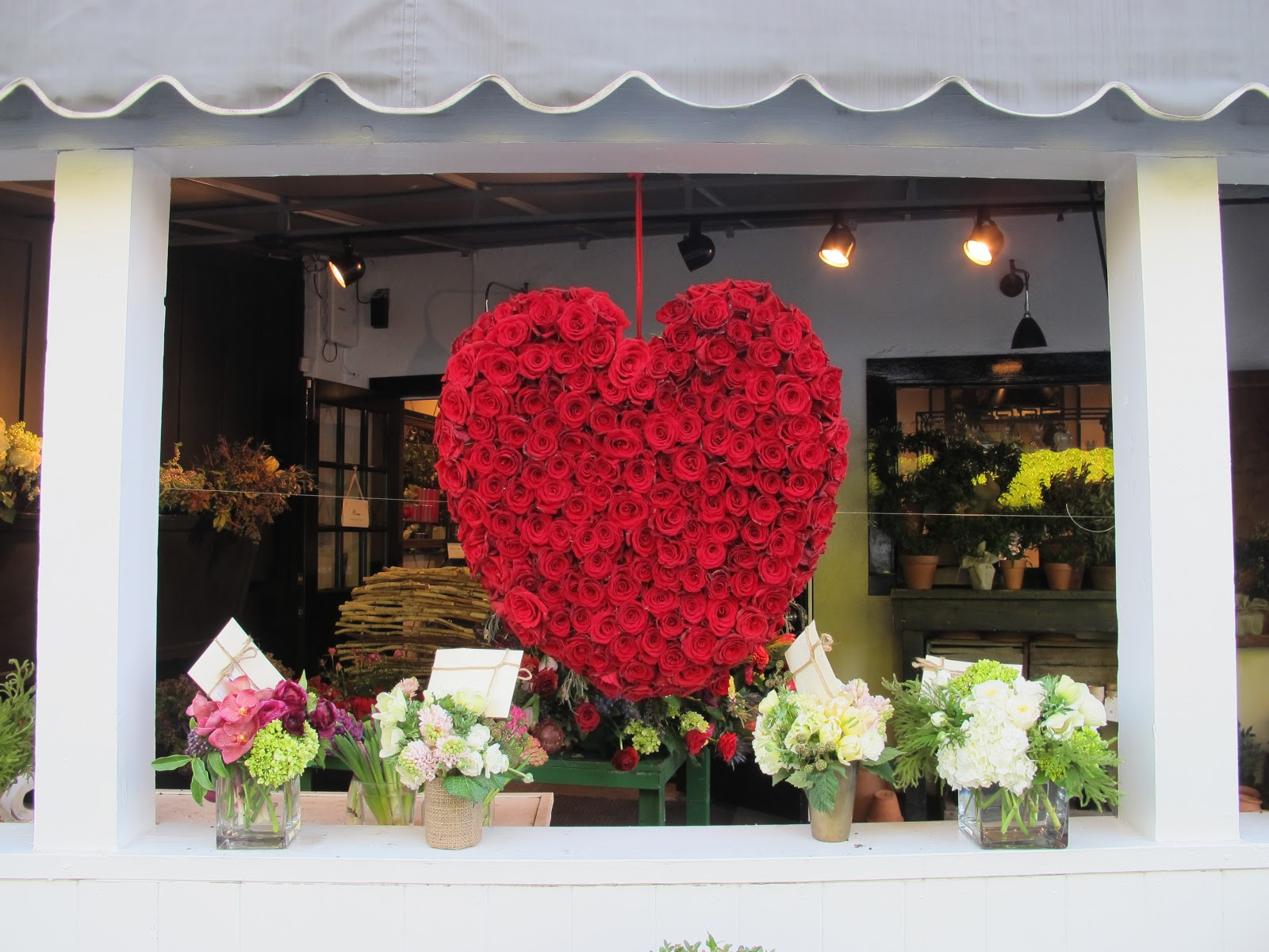 The Florist Shop has created a heart for the window display, made all from red roses, to match with Valentine's Day.