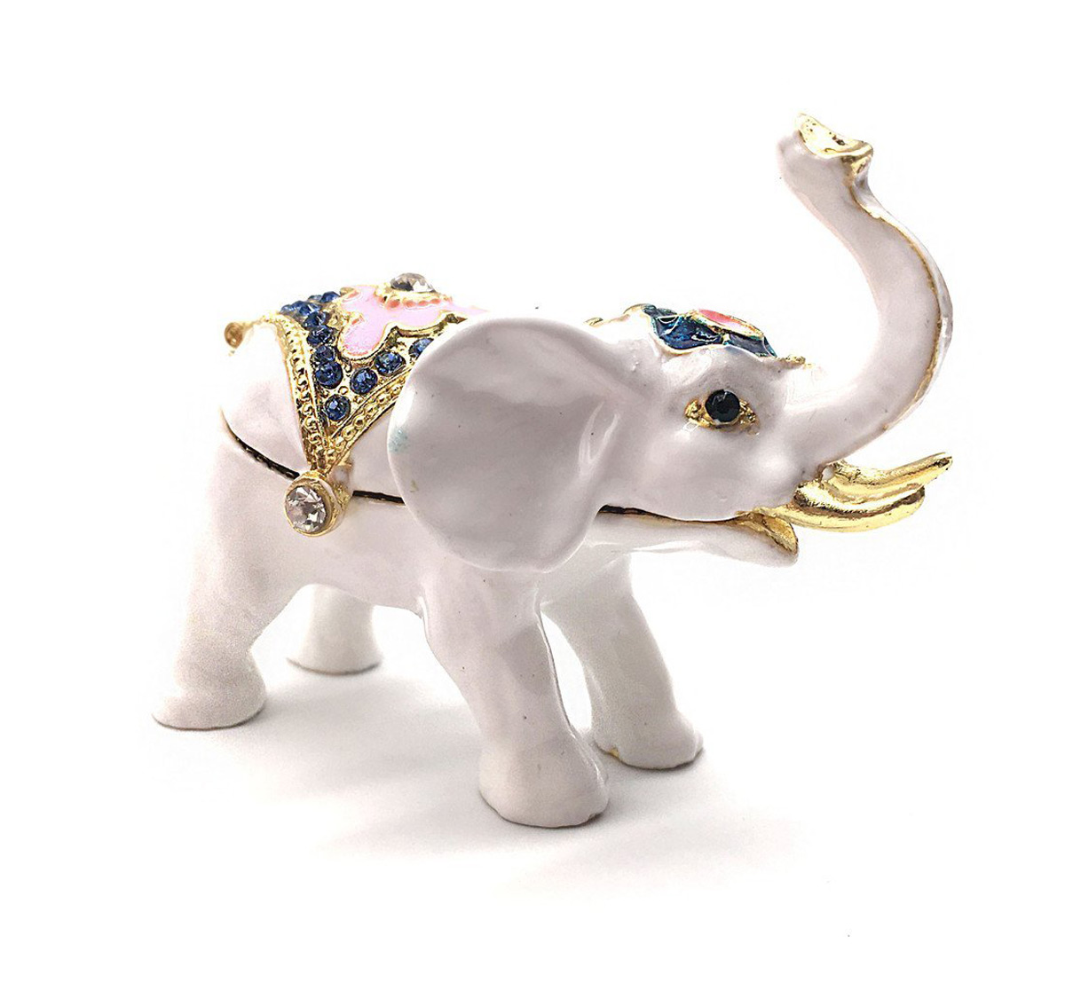 White & Gold Tones Simple Elephant Ring Holder