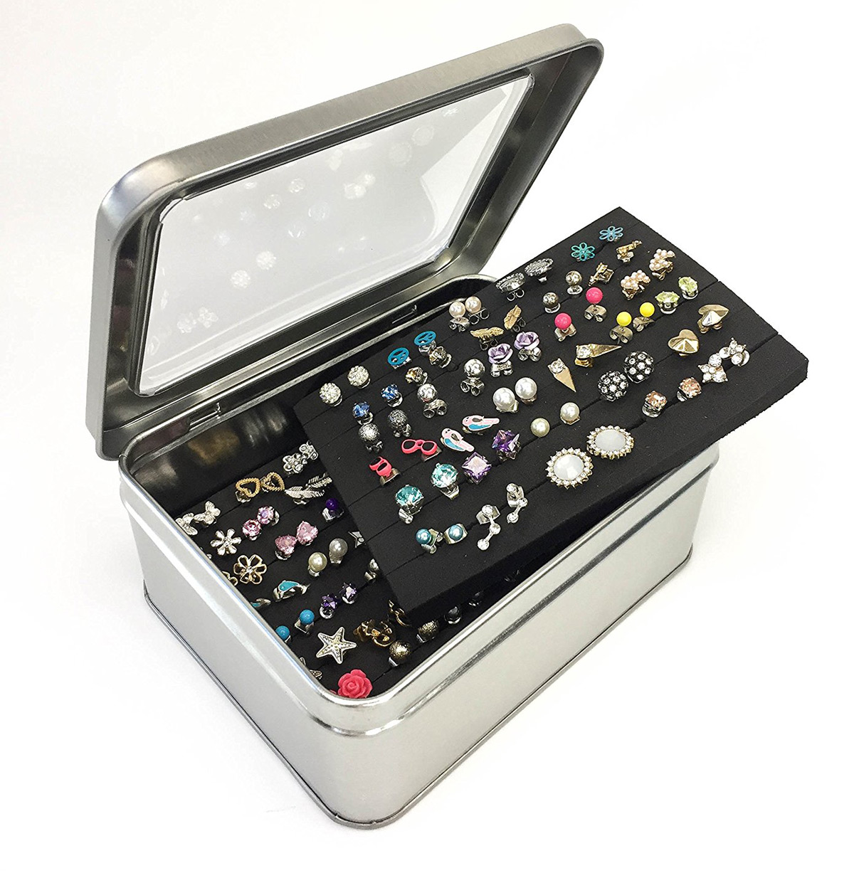 Silver Black Mirrored Earring Studs Holder Box