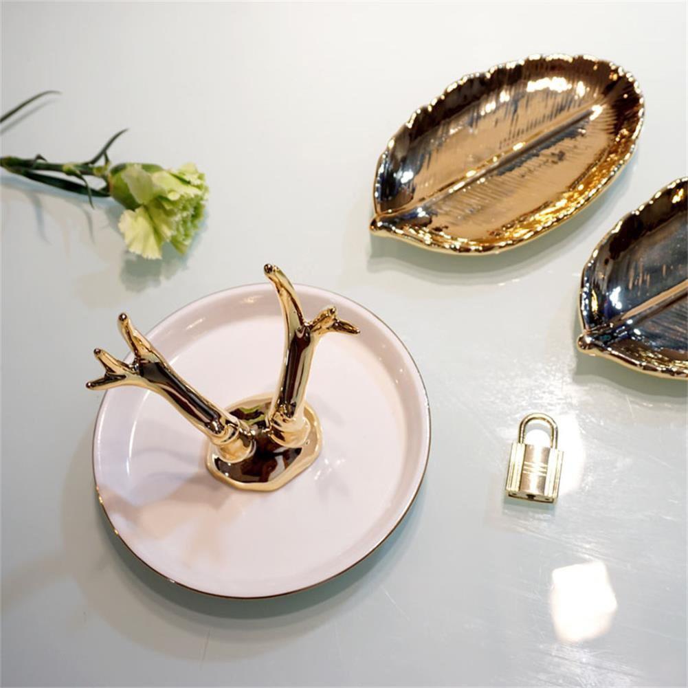 Golden Elegant Tree Shaped White Ring Holder Dish