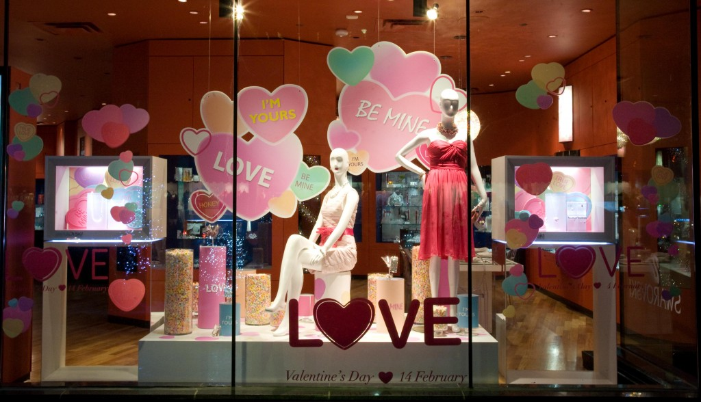 As Valentine's day is here, this store decorated their window display with blue & pink hearts in different sizes.