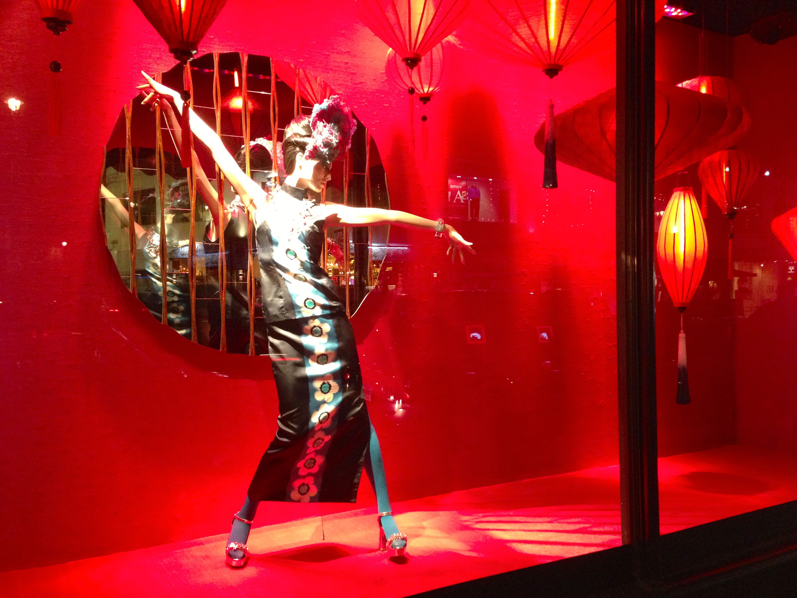 Chinese Lunar New Year's Eve is something to celebrate for, through intense red decoration, like in this window display.