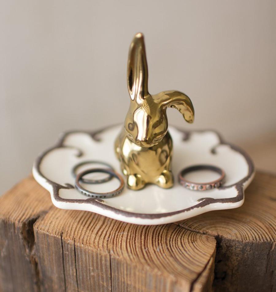 Golden Bunny Figurine White Ring Holder Dish