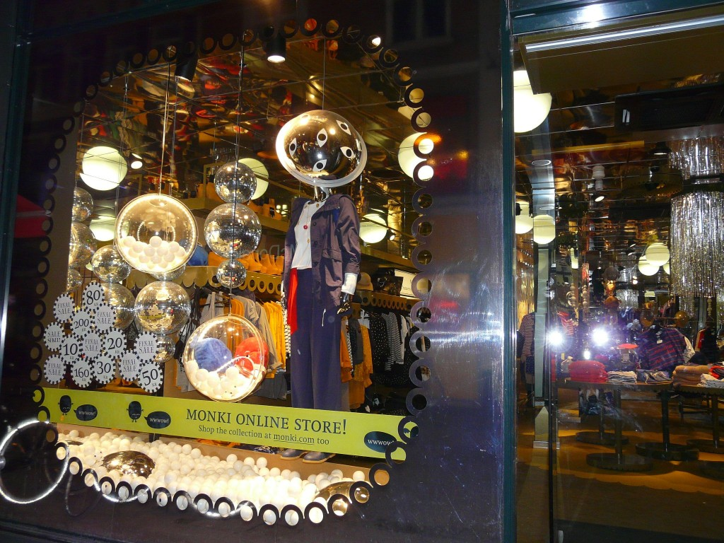 Monki has used disco balls and mirrors to make the window display look like it's ready for the biggest party of New Year's Eve.