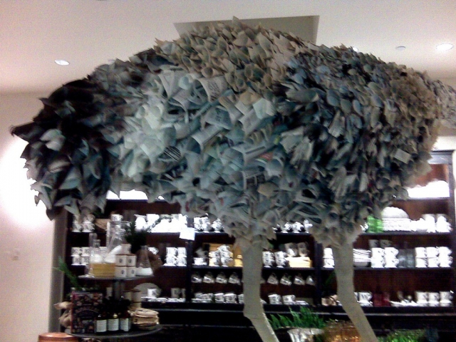 This window display was made for new year's window display from old phone books, recycled.